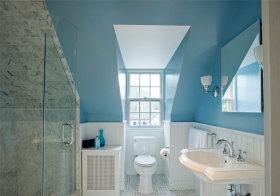 混搭蓝色卫生间阁楼欣赏