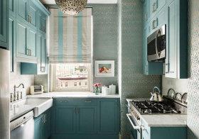 欧式蓝色厨房橱柜美图