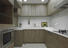 宜家木色厨房橱柜实景