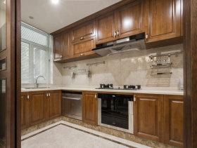 美式木色厨房橱柜实景
