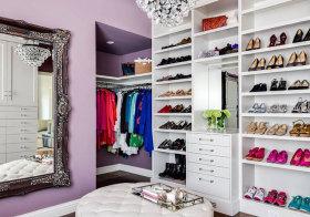 欧式紫色衣帽间美图