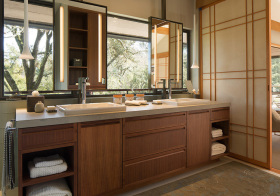 美式木质浴室柜效果图
