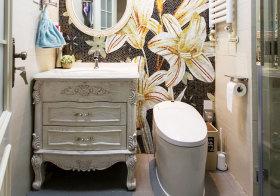 欧式雕花浴室柜近景
