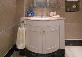 混搭弧形浴室柜实景