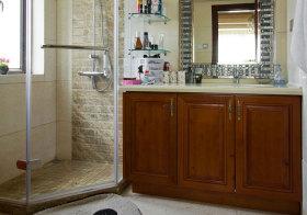 混搭木色浴室柜实景