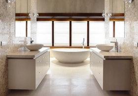 现代白色浴室柜效果图