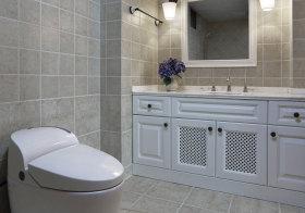 美式格子浴室柜实景