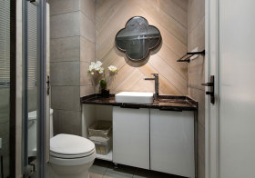 简约四边形浴室柜实景