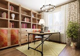 暖色混搭书房设计