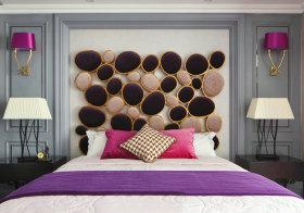 紫色卧室背景墙欣赏