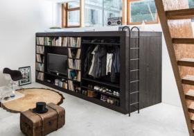 纯黑现代风格衣柜装修图片