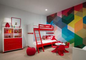 红色现代儿童房欣赏