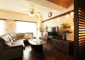 皮质美式客厅布置效果