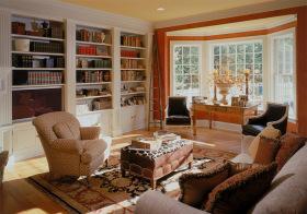 暖色美式书房设计