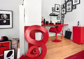 红黑现代照片墙效果图