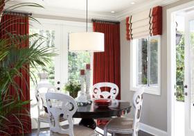 红色现代风窗帘装修美图
