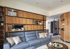 背景墙现代木柜收纳