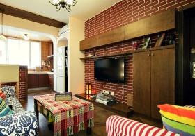 复古田园客厅背景墙设计