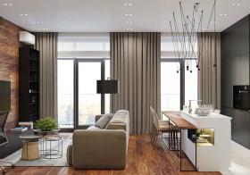 现代灰色窗帘装修效果图