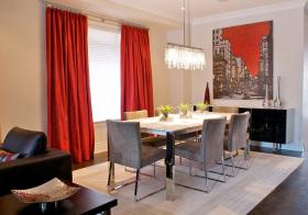 现代红色窗帘装修美图