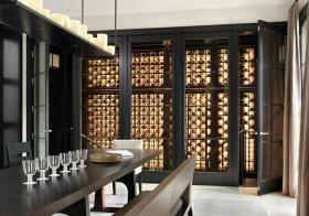 现代棕木酒柜装修美图
