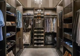 现代钢硬走入式衣柜美图