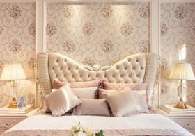 粉色欧式卧室背景墙美图