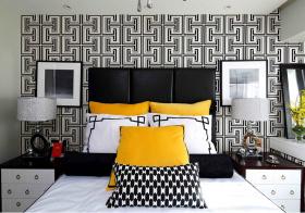个性现代卧室背景墙欣赏