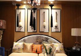 优雅古典中式沙发背景墙欣赏