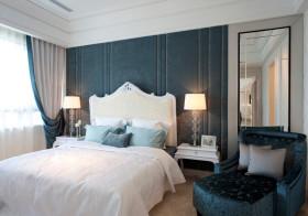 蓝色绒面卧室背景墙设计