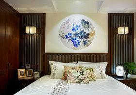 宁静中式卧室背景墙设计