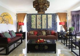 书画中式沙发背景墙设计