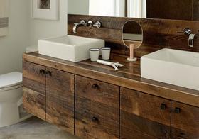 原木色美式浴室柜装修