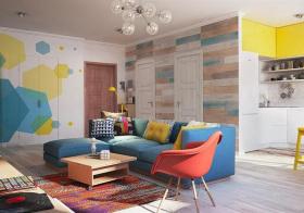 多彩混搭风格客厅装修设计