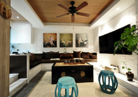个性新中式风格客厅装修图片