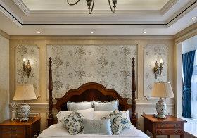 花纹美式卧室背景墙欣赏