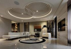 时尚圆盘客厅吊顶设计