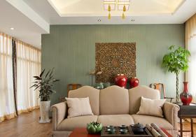 清新中式客厅背景墙设计