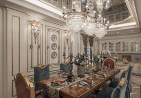 豪华欧式餐厅吊顶设计