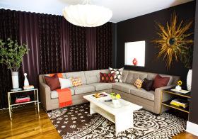 简约现代风黑色窗帘设计图