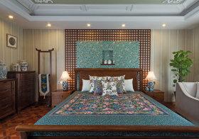 优雅中式卧室背景板欣赏