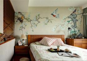 壁画中式卧室背景墙欣赏