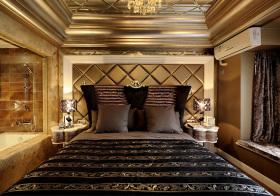 金色欧式卧室背景面板欣赏
