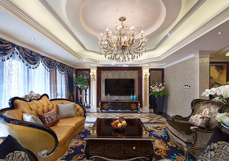 豪华欧式客厅吊顶装修设计