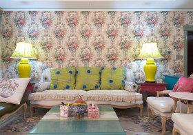 清新美式客厅背景墙设计