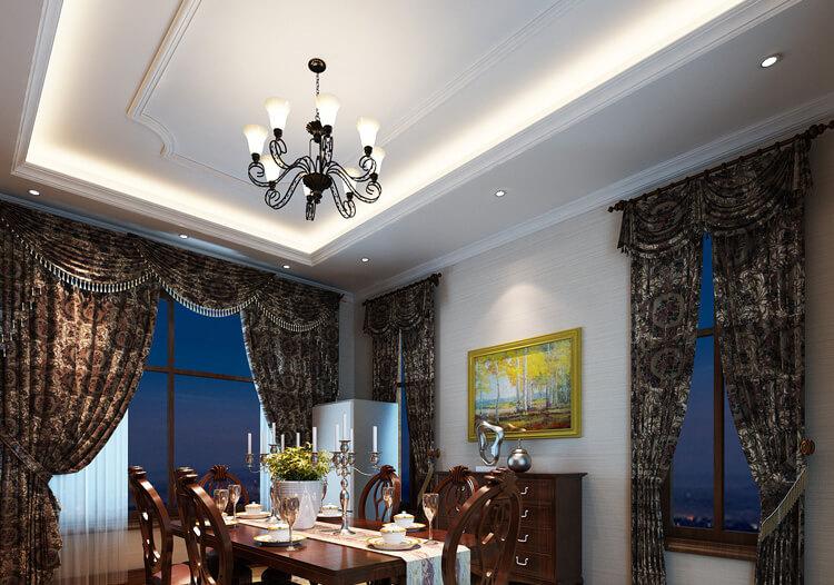 纯白方形欧式餐厅吊顶设计