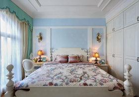 清新简欧卧室背景墙设计
