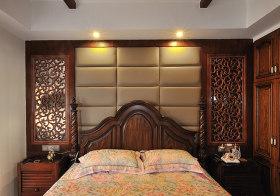 复古中式卧室背景墙欣赏