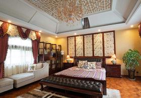 优雅中式卧室背景墙欣赏