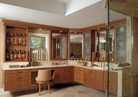 L型美式浴室柜设计